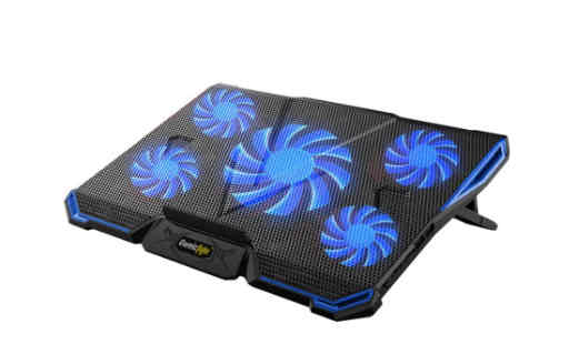 """Cosmic Byte Asteroid Laptop Cooling Pad, Adjustable Height, 5 Fan Design, LED Light, USB Ports, Support Upto 17"""" laptops (Blue)"""