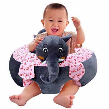 Samaaya ® Baby's Soft Plush Learn to Sit Stool Training Elephant Cotton Cushion Sofa Seat Safety Chair for Dining (grey)