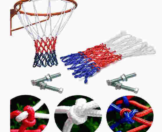 AMH SPORTS Basketball Ring with Net Ball - Red , Size 7